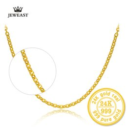 Discount o shape - 24K Pure Gold Necklace Cross Chain O-Shape Word All-match Female Words Clavicle Fine Jewelry Solid Gold Upscale Necklace