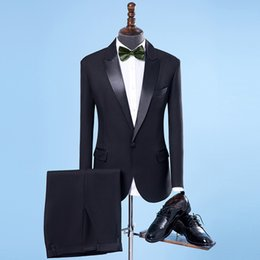 best male suits NZ - Custom Made 2018 New Brand Wedding Men Suits Black Blazers Slim Fit Suit Male Tuxedos Business Formal Groom Prom Best Man (Jacket+Pant)