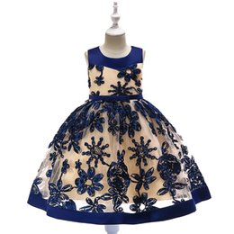 Chinese  Hot style girl's three-dimensional embroidered dress Floral wedding dress A BALL GOWN Sleeveless stitching children's skirt BEST PRICE manufacturers