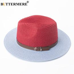 7e418e61252e2 BUTTERMERE Panama Chapeau Femmes Rouge Créateur de Mode D'été Chapeaux De  Paille Fedora Femme Contraste Couleur Printemps Plage Chapeau De Soleil  Avec ...