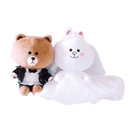 694e71117f 2pcs Pair Couple Brown Bear Plush Toys Bunny Cony Dolls Valentine  Girlfriend Gift Christmas Wedding Present Boy Bear Male Rabbit