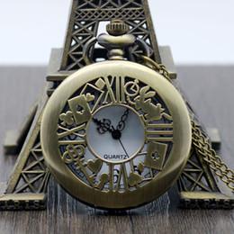 Rabbit Alice Alloy Pendant Australia - 1 Pcs Antique Bronze Alice in Wonderland Rabbit Quartz Pocket Watch Necklace Pendant Fob Chain Watches For Men
