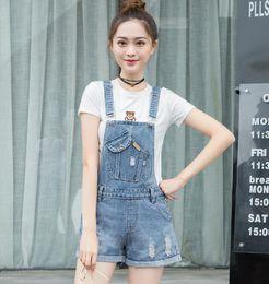 499847dbf484 2018 new summer Hole Denim Jumpsuit Romper For Women Denim Coverall  Playsuit Short Jeans Female Jeans Overalls s1792