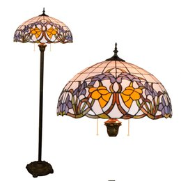 Discount baroque beds - 16inch Tiffany Baroque Stained Glass floor lamp E27 110-240V for Home Parlor Dining bed Room standing lamp