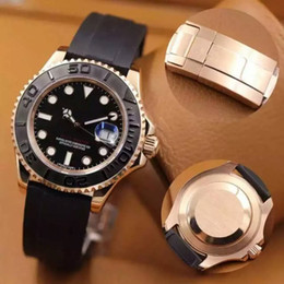Top AAA + borracha subiu relógio de ouro YACHT AAA MASTER 40mm movimento automático mecânico dos homens relógio de aço inoxidável venda por atacado