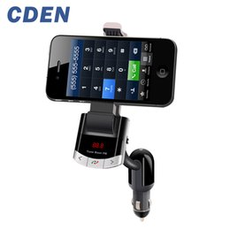 Discount holder display phones - Car Charger Phone Holder Bluetooth Handsfree with FM Transmitter LCD Display Car Kit Support U Disk and USB Charge AUX I