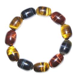 $enCountryForm.capitalKeyWord Australia - Natural Tiger Eye Stone Bucket Bracelet Blue Tiger Eye Tricolor Stone Bracelet Gift