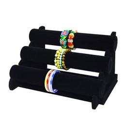$enCountryForm.capitalKeyWord UK - Big Sale Wooden Jewelry Display Rack Black Velvet Bracelet Bangle Watch Display Holder Three-Tier T Bar Bracelet Display Stand Holder