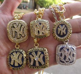 New York Necklace Australia - 1977 1996 1998 1999 2000 2009 New York World Baseball Team Championship Ring Pendant Necklace With Chain Fan Men Gift