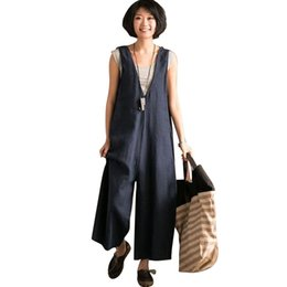 0afc1ad0196 2018 Linen Jumpsuits Women Harem Rompers Casual Pockets Sleeveless Backless  Long Pants Loose Playsuit Plus Size Oversize Romper