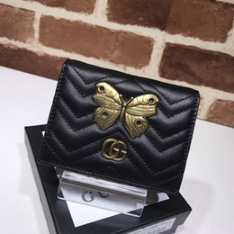 Square Shaped Beads NZ - xiuchun852 Buckle Quality Celebrity design Letter Metal Top V-shaped Wallet Butterfly insect Card Back Cowhide Leather 466492 Purse