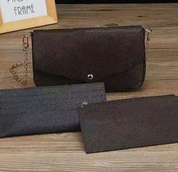 أصلي جلد طبيعي الأزياء سلسلة حقيبة الكتف حقيبة يد طويل النظر حزمة رسول حقيبة الهاتف المحمول محفظة محفظة فيليسي 61276