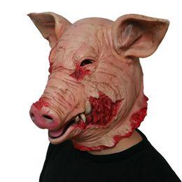 $enCountryForm.capitalKeyWord Australia - Saw Pig Head Scary Masks Halloween Creepy Animal Prop Latex Mask Full Head Scary Cosplay Costume Mask Holiday Supplies