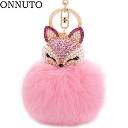 trinket toys 2019 - Lovely Crystal Faux Fox Rabbit Fur Keychains Women Trinkets Suspension On Bags Car Key Chain Keyrings Toy Gifts 7C0394 c