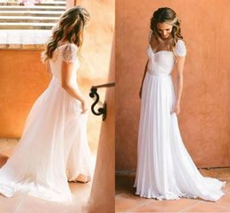 White Chiffon A Line Wedding Dresses Sweetheart Cap Sleeves Beach Sweep Train Vintage Backless Bridal Gowns
