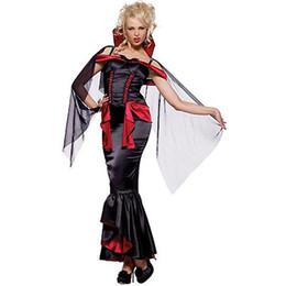 Halloween Costume Black Vampire Dress Australia - Black Evil Queen Costume Halloween Vampire Theme Costume Sexy Carnival Cosplay Fancy Dress with Mesh Shawl