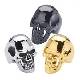 skull rings 2019 - Men's Biker Stainless Steel Ring Stainless Steel Ring Skull For Man Unique Gothic Punk Retro Sport Biker Skeleton M