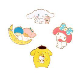 China Enamel Moon kid brooches Cute Bear Rabbit Brooch Pins Lapel Pin Badge Fashion Jewelry for Women Men Kids Christmas Gift Drop Shipping suppliers