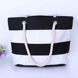Fabric beach bag online shopping - Joker Rough Hemp Rope Woman Canvas Bag Red Black Single Shoulder Beach Stripe Eco Friendly Bags Fashion zc bb