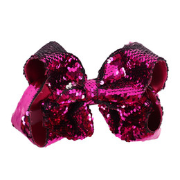 "$enCountryForm.capitalKeyWord UK - SALE 7"" Large Mermaid Sequin Ribbon Hair Bow Reversible Sequin Hair Bows Handmade Boutique Bowknot Hairgrips Kids Hair Accessories 12PCS"
