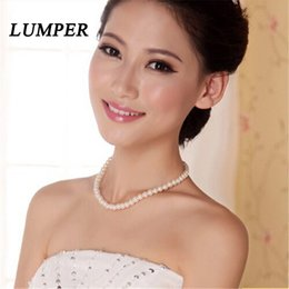 Pearl Bridal Jewellery Australia - LUMPER Womens jewellery colliers big chain simulated pearl necklace bridal jewelry necklace female wedding gifts pearl