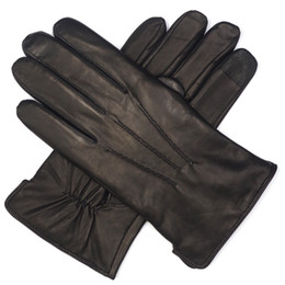 High Leather Gloves NZ - High Qulity Casual Mens Luxury Italian Sheepskin Leather Gloves Vintage Finished 100% Wool Lined Touchscreen Winter Black