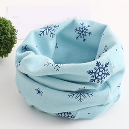 Cotton Neck Scarves NZ - DropShipping Christmas little Kids Scarf Snowflake Pattern Stitching Leave O-ring Cotton Scarf Neck Warmer Unisex Winter Collar