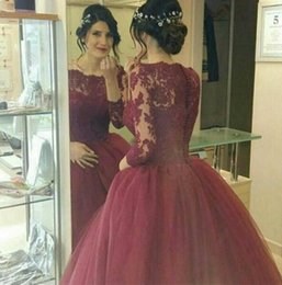$enCountryForm.capitalKeyWord NZ - Dark Red Tulle Ball Gown Pageant Evening Dresses Women's Lace Long Sleeve Bridal Gown Special Occasion Prom Bridesmaid Party Dress 17LF626