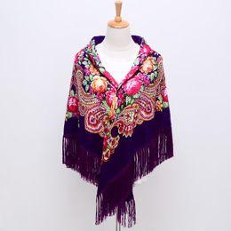 $enCountryForm.capitalKeyWord UK - Sale Russian Brand New Fashion Big Size Square Cardigon Cotton Long Tassel Print Scarf in Spring Winter Shawl For Women floural