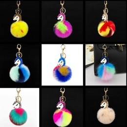 Wholesale Unicorn key chain hanging chain Cell Phone Straps Charms Faux fur Color ball Unicorn pendant bag clothing accessories