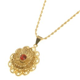 hollow flower pendant NZ - Oval Ethiopian Flower Charm Pendant Necklaces African Gold Color Hollow Out Necklaces Flower Jewelry