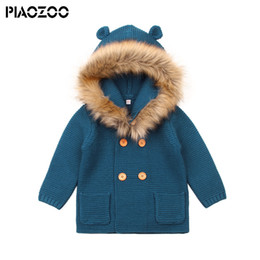 hooded cardigan ears UK - Baby Sweater Baby Girls Cardigan with Ears Newborn infant Boys Knitted fake fur Hood Sweater Spring Kids Jacket Hooded Coat P20