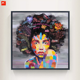 Portrait Oil Modern Australia - New Graffiti Street Wall Art Abstract Modern African Women Portrait Canvas Oil Painting On Prints For Living Room Y18102209