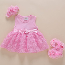 b3d41c504 Korean style summer baby girl dress party princess dress outfit infant rose  flower lace dresses set with headband and shoes