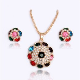Women Costume Jewelry UK - H:HYDE Gold-Color Multi-colors Rhinestone Crystal Flower Necklace Earrings sets Jewelry Set Party Costume Bijouterie For Women