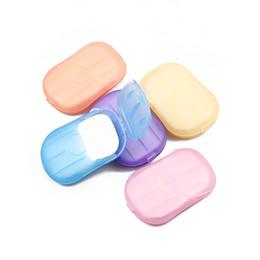 Ingrosso 5 scatole / lotto (20 pezzi / scatola) lavapentole per il lavaggio a mano, sapone da viaggio, viaggio portatile, lenzuola profumate, fogli di carta spumante