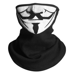 V Vendetta Cosplay UK - V for Vendetta Scarf Magic Half Face Mask Headband Skeleton Headwear Headband Neck Bandana Cosplay Costume Pattern Balaclava