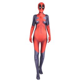male tights UK - Woman Kid Deadpool Cosplay Costume Zipper Back Red Tights Suit with Headgear Male Deadpool Jumpsuits Bodysuits