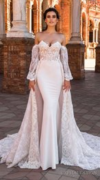 $enCountryForm.capitalKeyWord NZ - Crystal Design Mermaid Wedding Dresses with Detachable Train Lace Long Sleeves Sweetheart Court Train Lace Appliques Wedding Bridal Gowns