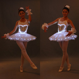 ballerina tutu kids UK - Swan Lake 8 sizes white LED light ballet tutu skirt ballerinas kid adults for performance ET002