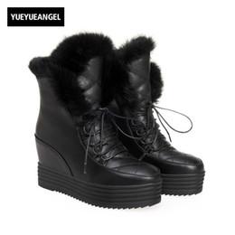 e463999a6c5 Discount platform hidden wedge boots - New Rabbit Fur Trim Womens Snow  Boots Fashion Hidden Heel