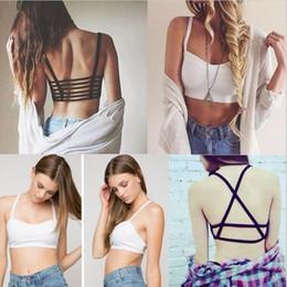 sports bra tank 2019 - HOT!!!2016 New Fashion Hollow Out stripe Camis Women tops Bra Crop Top Tank Beach Sport Vest Sexy discount sports bra ta