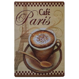 paris tin signs UK - Cafe Paris Vintage Metal Signs Home Decor Cafe Bar Decoration Plaque Pub Decorative Metal Wall Art Plates Tin Sign Retro 20x30cm