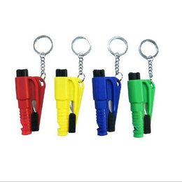 Wholesale Mini Emergency Hammer Car Key Chain Escape Tool Broken Window Cut Knife Whistle Safety Artifact