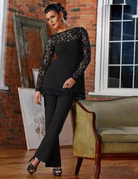 Discount formal long jumpsuit - Vintage Black Lace Mother of Bride Groom Pant Suits Two Pieces Long Sleeves Mother Formal Jumpsuits Formal Evening Gowns