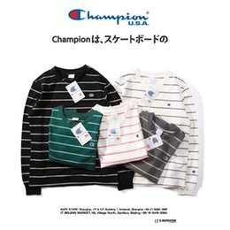 Windstopper jacket Women online shopping - 18SS Champions Embroidered Logo  Striped Hoodies Sweatshirts Women and Men cfcd49623