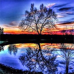 Gift imaGes online shopping - Lakeside Dusk Tree Inverted Image DIY Diamond Painting Sunset Setting Sun Sunset Glow Kits Arts Crafts Gifts lf2 bb