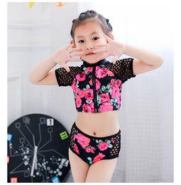 42a455ac27 Child Girls Bathing Suits Canada - Children bikini swimwear girls rose flowers  printed falbala split swimming