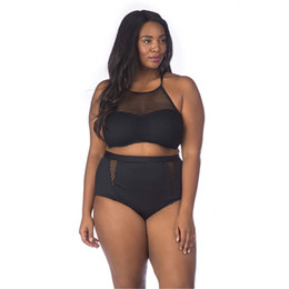 933cf2476e XL-4XL big size bikini sexy black mesh high waist swimsuit push up halter  bandage steel padded beachwear swimwear womens african