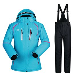 Discount outdoor riding pants - -30 Degree Hot Women Winter Ski Outdoor Riding Snow Clothing Thick Waterproof Female Jacket Pants Set Skiing Snowboardin